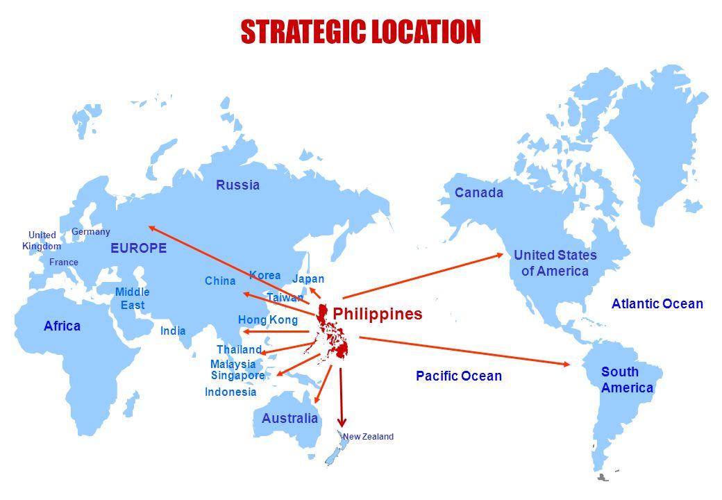 STRATEGIC LOCATION Russia EUROPE United States of America South America Pacific Ocean Atlantic Ocean Australia Japan Korea China India Africa Taiwan H