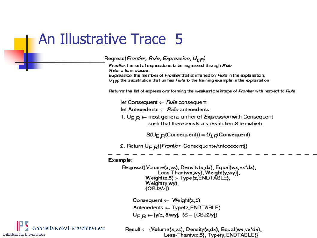 Lehrstuhl für Informatik 2 Gabriella Kókai: Maschine Learning An Illustrative Trace 5