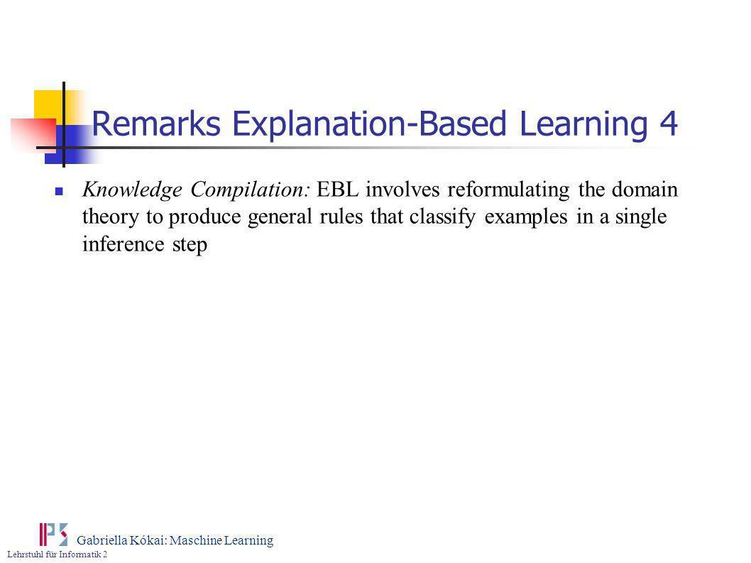 Lehrstuhl für Informatik 2 Gabriella Kókai: Maschine Learning Remarks Explanation-Based Learning 4 Knowledge Compilation: EBL involves reformulating t