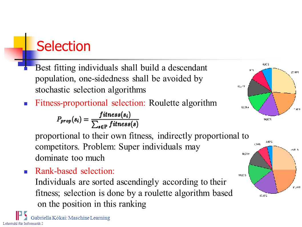 Lehrstuhl für Informatik 2 Gabriella Kókai: Maschine Learning Selection Best fitting individuals shall build a descendant population, one-sidedness sh