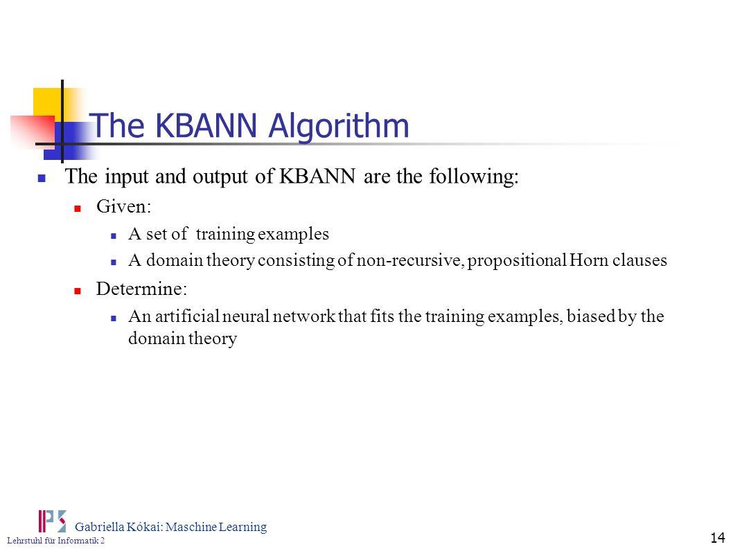 Lehrstuhl für Informatik 2 Gabriella Kókai: Maschine Learning 14 The KBANN Algorithm The input and output of KBANN are the following: Given: A set of