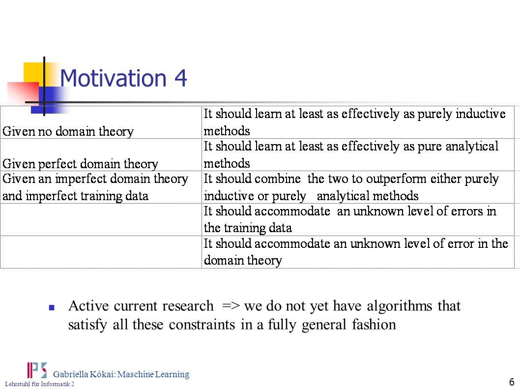 Lehrstuhl für Informatik 2 Gabriella Kókai: Maschine Learning 6 Motivation 4 Active current research => we do not yet have algorithms that satisfy all