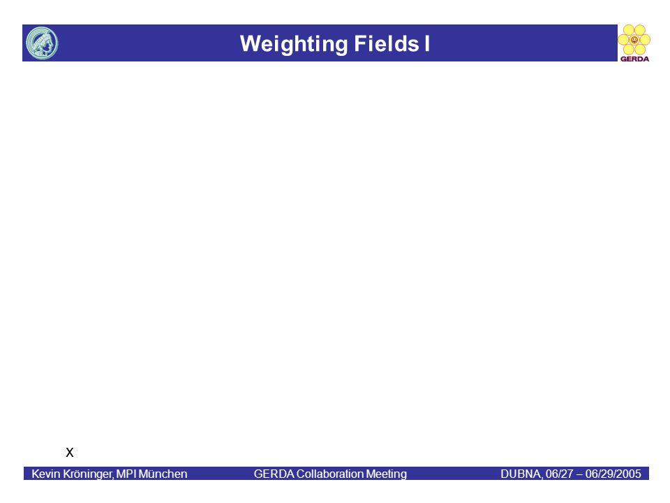 Weighting Fields I Kevin Kröninger, MPI München GERDA Collaboration MeetingDUBNA, 06/27 – 06/29/2005 x