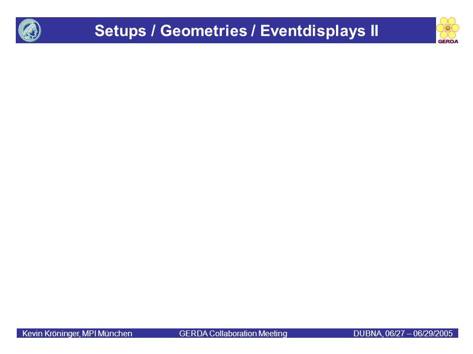Setups / Geometries / Eventdisplays II Kevin Kröninger, MPI München GERDA Collaboration MeetingDUBNA, 06/27 – 06/29/2005