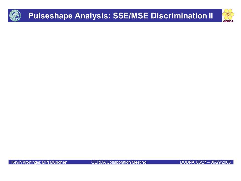 Pulseshape Analysis: SSE/MSE Discrimination II Kevin Kröninger, MPI München GERDA Collaboration MeetingDUBNA, 06/27 – 06/29/2005