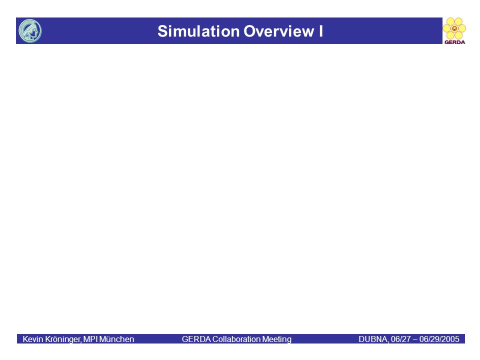 Simulation Overview I Kevin Kröninger, MPI München GERDA Collaboration MeetingDUBNA, 06/27 – 06/29/2005