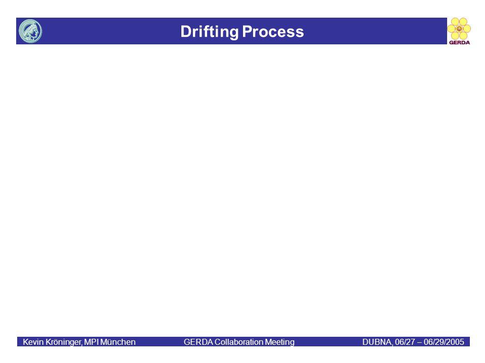 Drifting Process Kevin Kröninger, MPI München GERDA Collaboration MeetingDUBNA, 06/27 – 06/29/2005