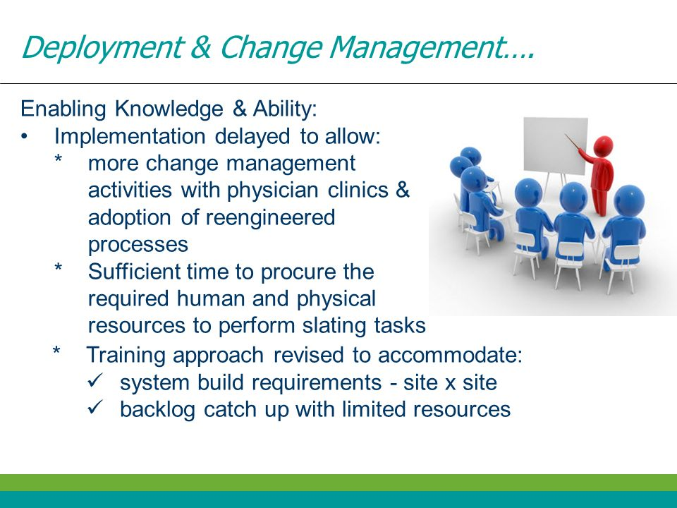 Deployment & Change Management…. Enabling Knowledge & Ability: Implementation delayed to allow: *more change management activities with physician clin