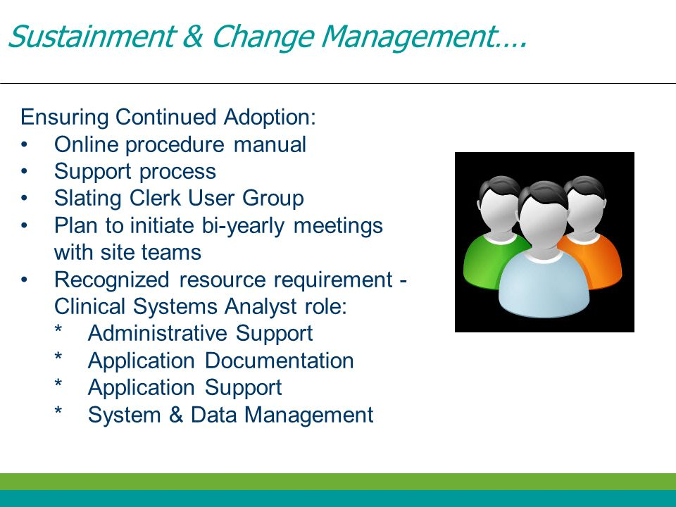 Sustainment & Change Management…. Ensuring Continued Adoption: Online procedure manual Support process Slating Clerk User Group Plan to initiate bi-ye