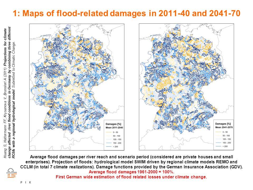 RECCWEX 1: Maps of flood-related damages in 2011-40 and 2041-70 Average flood damages per river reach and scenario period (considered are private hous