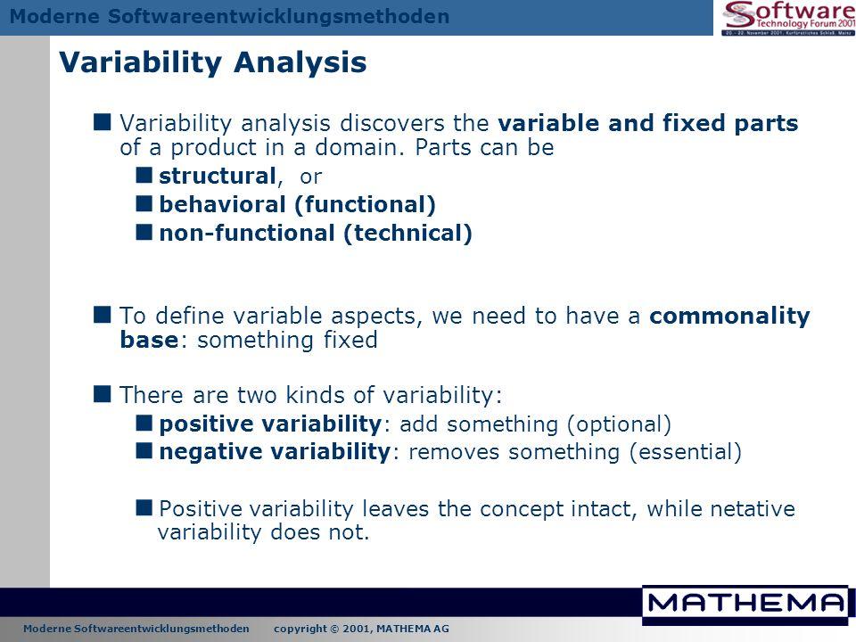 Moderne Softwareentwicklungsmethoden copyright © 2001, MATHEMA AG Moderne Softwareentwicklungsmethoden Variability Analysis Variability analysis disco