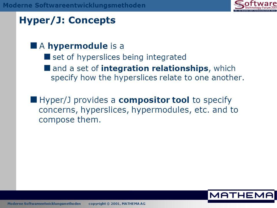 Moderne Softwareentwicklungsmethoden copyright © 2001, MATHEMA AG Moderne Softwareentwicklungsmethoden Hyper/J: Concepts A hypermodule is a set of hyp