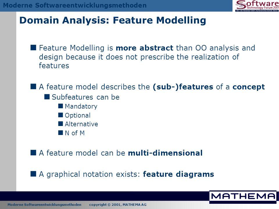 Moderne Softwareentwicklungsmethoden copyright © 2001, MATHEMA AG Moderne Softwareentwicklungsmethoden Domain Analysis: Feature Modelling Feature Mode