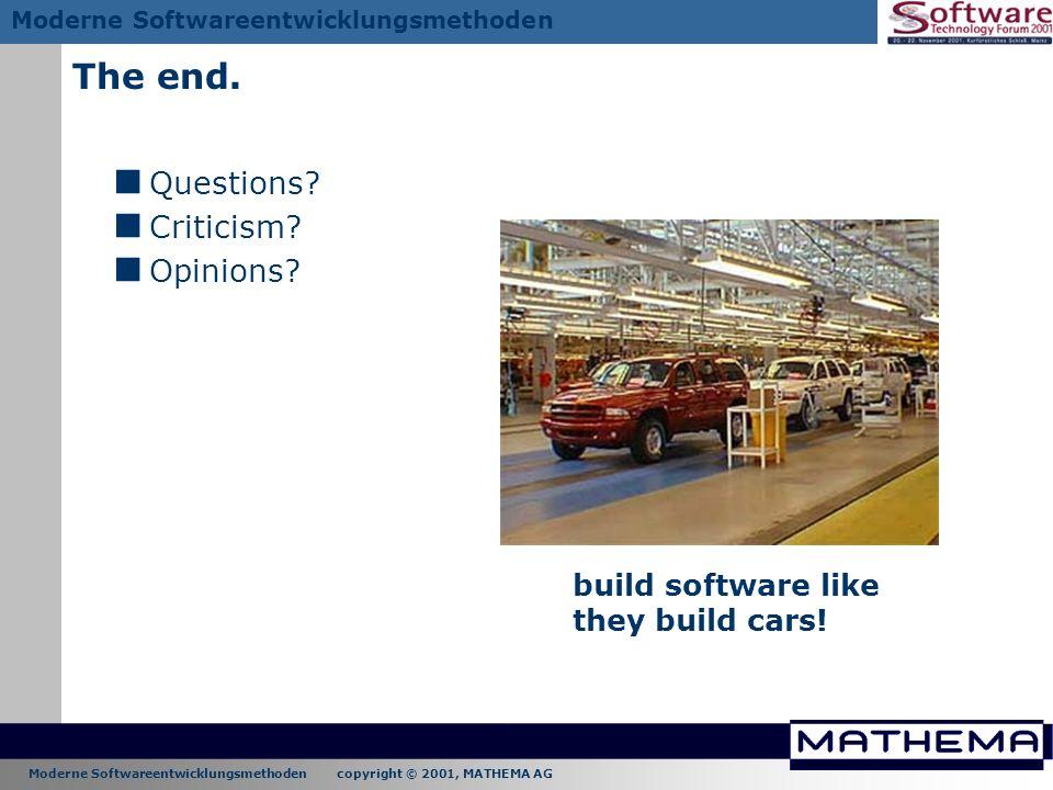 Moderne Softwareentwicklungsmethoden copyright © 2001, MATHEMA AG Moderne Softwareentwicklungsmethoden The end. Questions? Criticism? Opinions? build
