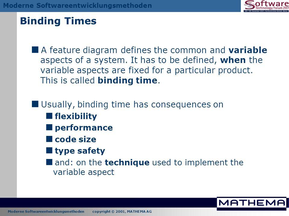 Moderne Softwareentwicklungsmethoden copyright © 2001, MATHEMA AG Moderne Softwareentwicklungsmethoden Binding Times A feature diagram defines the com