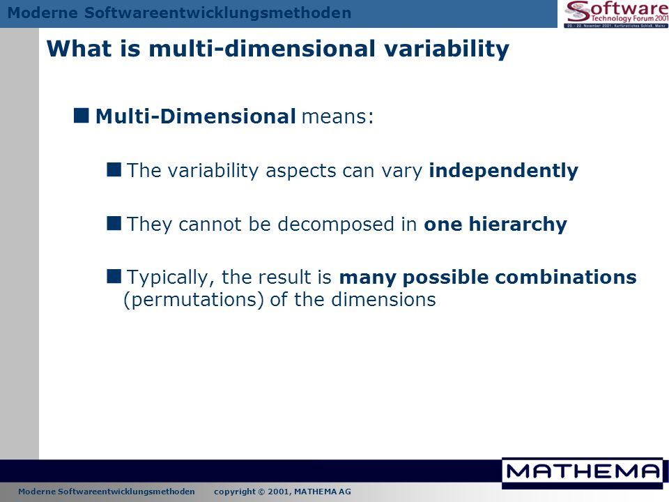 Moderne Softwareentwicklungsmethoden copyright © 2001, MATHEMA AG Moderne Softwareentwicklungsmethoden What is multi-dimensional variability Multi-Dim