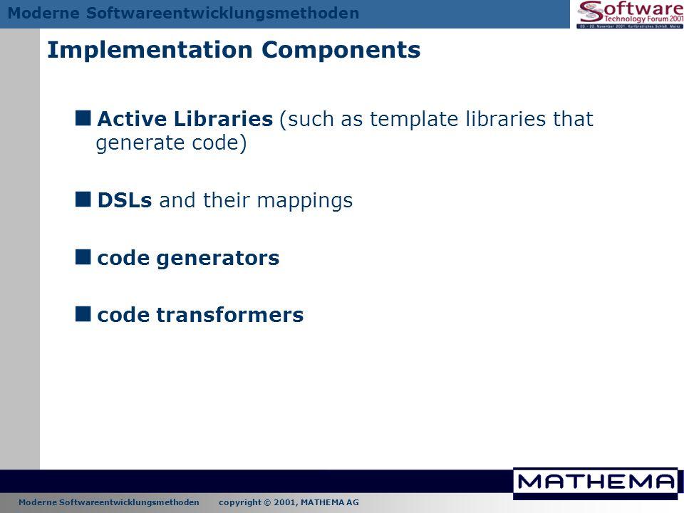 Moderne Softwareentwicklungsmethoden copyright © 2001, MATHEMA AG Moderne Softwareentwicklungsmethoden Implementation Components Active Libraries (suc