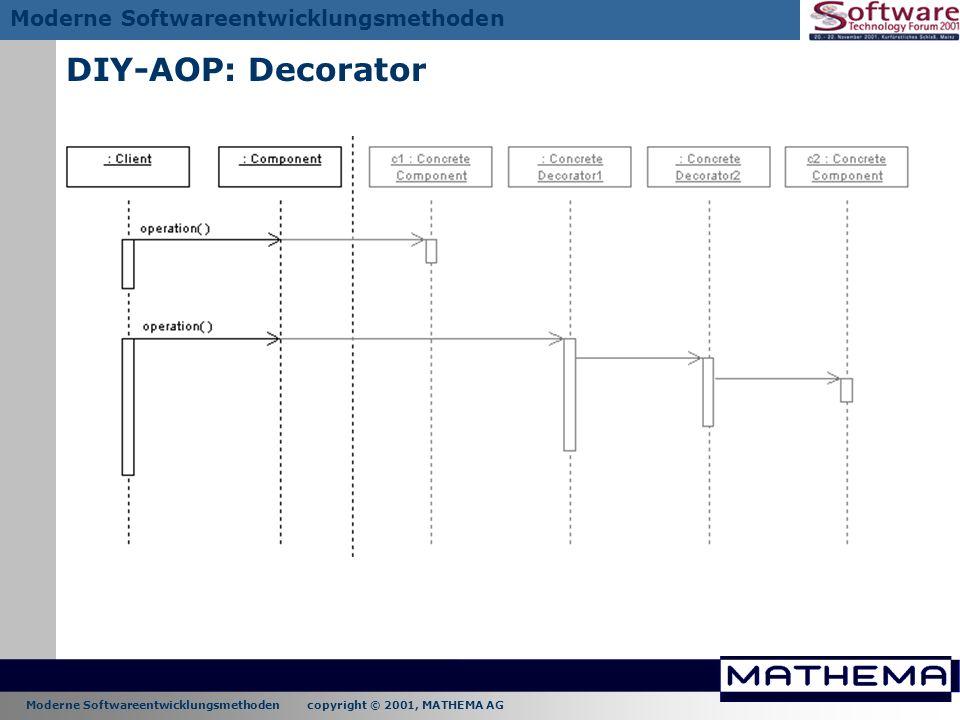 Moderne Softwareentwicklungsmethoden copyright © 2001, MATHEMA AG Moderne Softwareentwicklungsmethoden DIY-AOP: Decorator