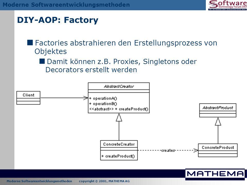 Moderne Softwareentwicklungsmethoden copyright © 2001, MATHEMA AG Moderne Softwareentwicklungsmethoden DIY-AOP: Factory Factories abstrahieren den Ers