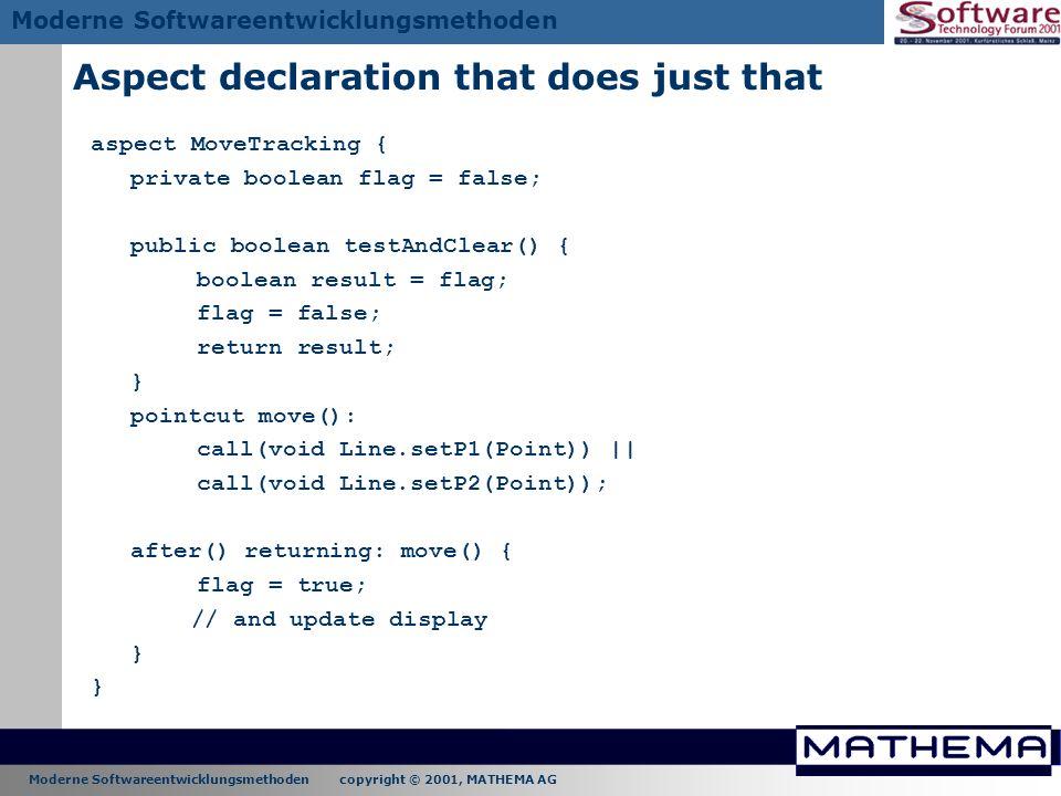 Moderne Softwareentwicklungsmethoden copyright © 2001, MATHEMA AG Moderne Softwareentwicklungsmethoden Aspect declaration that does just that aspect M