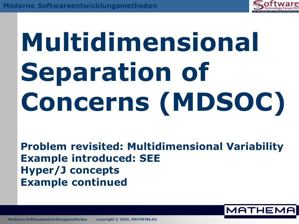 Moderne Softwareentwicklungsmethoden copyright © 2001, MATHEMA AG Moderne Softwareentwicklungsmethoden Multidimensional Separation of Concerns (MDSOC)