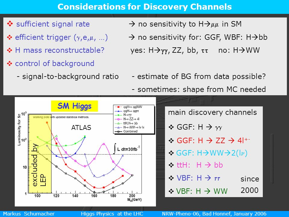 11 Markus Schumacher Higgs Physics at the LHC NRW-Pheno-06, Bad Honnef, January 2006 Considerations for Discovery Channels sufficient signal rate no s