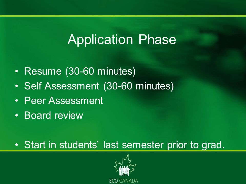 Application Phase Resume (30-60 minutes) Self Assessment (30-60 minutes) Peer Assessment Board review Start in students last semester prior to grad.
