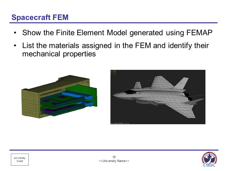 University Crest Spacecraft FEM Show the Finite Element Model generated using FEMAP List the materials assigned in the FEM and identify their mechanic