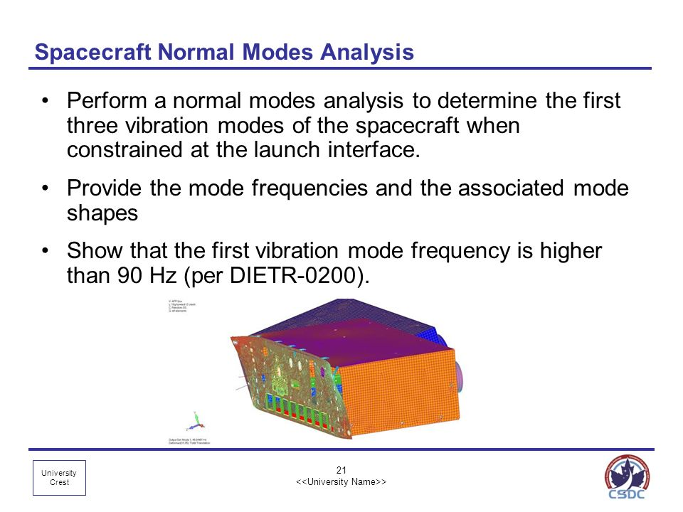 University Crest Spacecraft Normal Modes Analysis Perform a normal modes analysis to determine the first three vibration modes of the spacecraft when