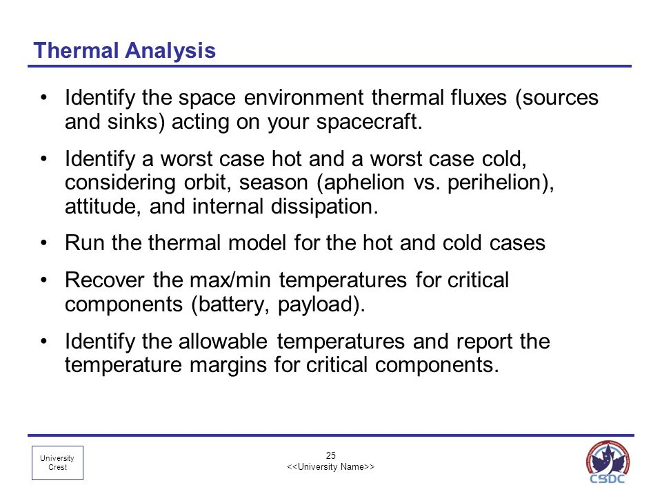 University Crest Thermal Analysis Identify the space environment thermal fluxes (sources and sinks) acting on your spacecraft. Identify a worst case h