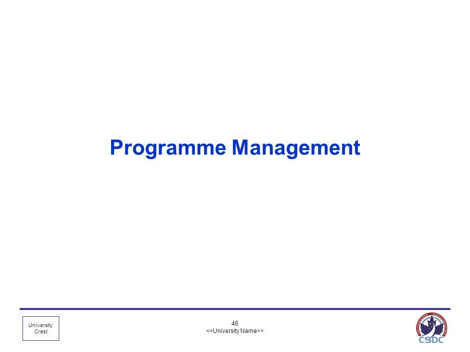 University Crest 46 > Programme Management