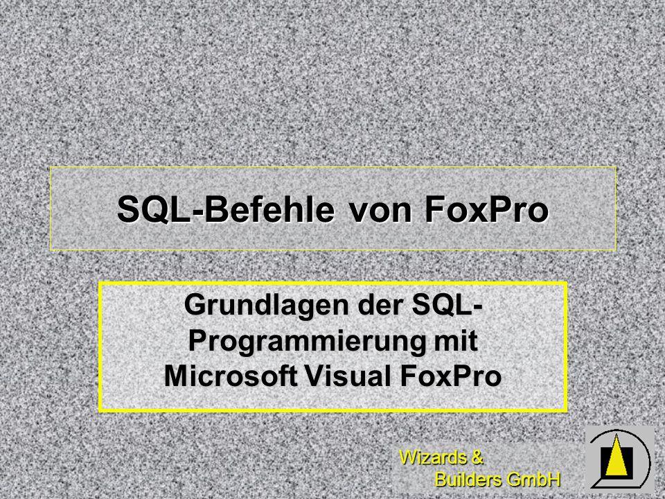 Wizards & Builders GmbH Diese Schulung dient zur Einführung in die Grundlagen der Standard Query Language (SQL) und deren Anwendung in Microsoft Visual FoxPro