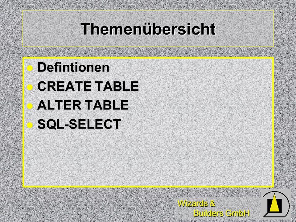 Wizards & Builders GmbH Themenübersicht Defintionen Defintionen CREATE TABLE CREATE TABLE ALTER TABLE ALTER TABLE SQL-SELECT SQL-SELECT