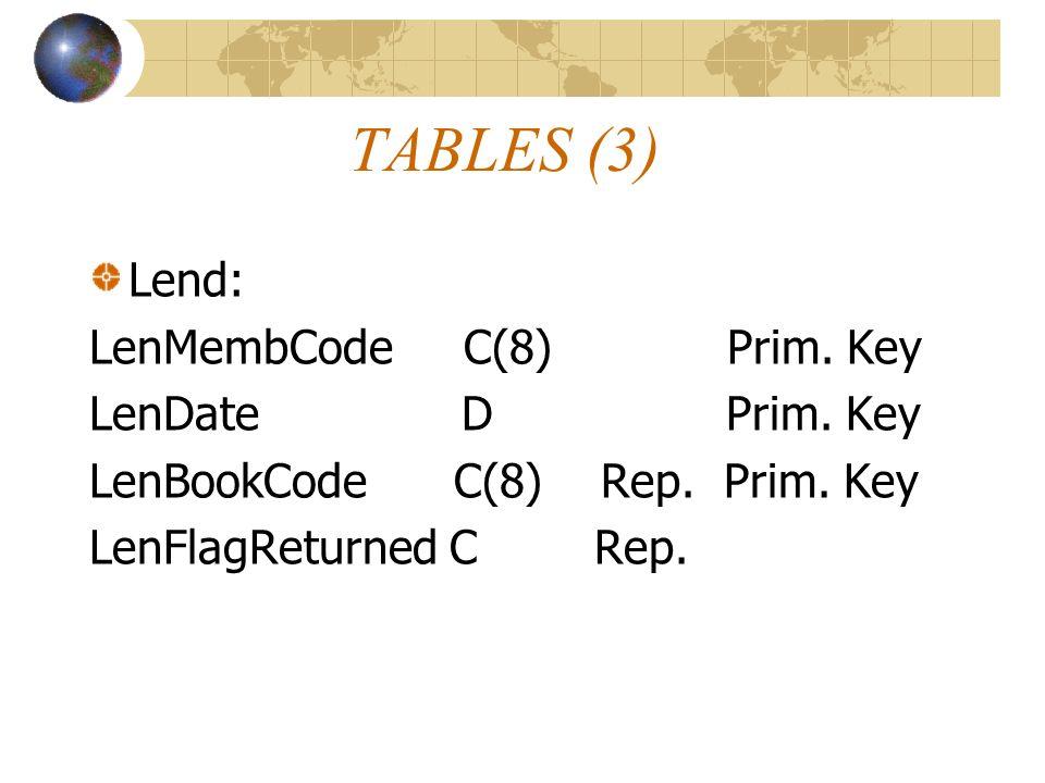 TABLES (3) Lend: LenMembCode C(8) Prim. Key LenDate D Prim. Key LenBookCode C(8) Rep. Prim. Key LenFlagReturned C Rep.