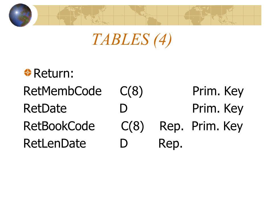 TABLES (4) Return: RetMembCode C(8) Prim. Key RetDate D Prim. Key RetBookCode C(8) Rep. Prim. Key RetLenDate D Rep.