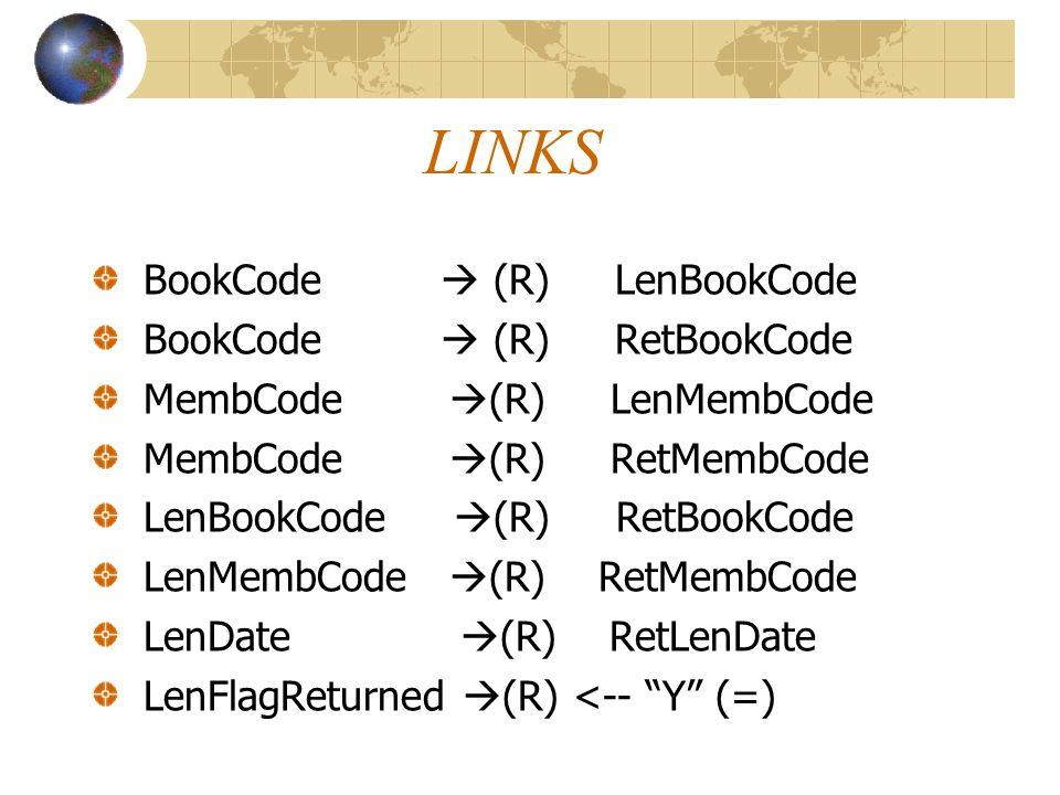 LINKS BookCode (R) LenBookCode BookCode (R) RetBookCode MembCode (R) LenMembCode MembCode (R) RetMembCode LenBookCode (R) RetBookCode LenMembCode (R)