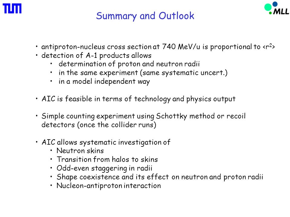 Summary and Outlook antiproton-nucleus cross section at 740 MeV/u is proportional to detection of A-1 products allows determination of proton and neut