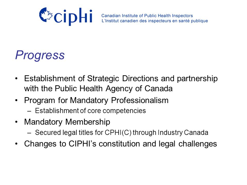 Establishment of Strategic Directions and partnership with the Public Health Agency of Canada Program for Mandatory Professionalism –Establishment of