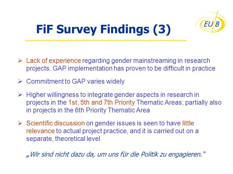 FiF Survey Findings (3) Lack of experience regarding gender mainstreaming in research projects. GAP implementation has proven to be difficult in pract