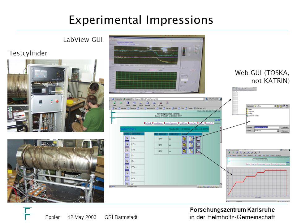 Forschungszentrum Karlsruhe in der Helmholtz-Gemeinschaft Eppler 12 May 2003GSI Darmstadt Experimental Impressions Testcylinder LabView GUI Web GUI (TOSKA, not KATRIN)