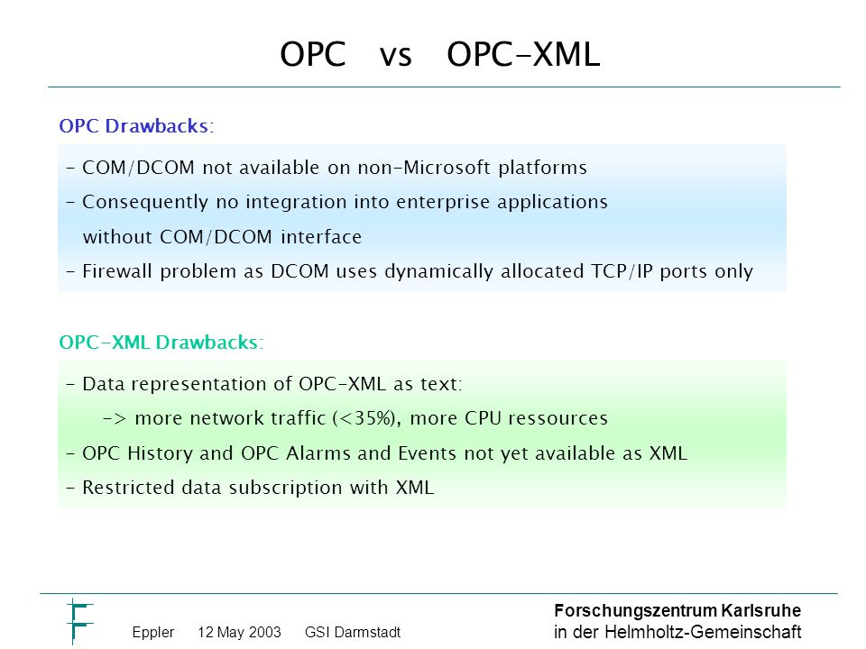 Forschungszentrum Karlsruhe in der Helmholtz-Gemeinschaft Eppler 12 May 2003GSI Darmstadt OPC vs OPC-XML - COM/DCOM not available on non-Microsoft platforms - Consequently no integration into enterprise applications without COM/DCOM interface - Firewall problem as DCOM uses dynamically allocated TCP/IP ports only - Data representation of OPC-XML as text: -> more network traffic (<35%), more CPU ressources - OPC History and OPC Alarms and Events not yet available as XML - Restricted data subscription with XML OPC Drawbacks: OPC-XML Drawbacks:
