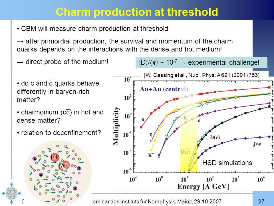 Claudia Höhne Seminar des Instituts für Kernphysik, Mainz, 29.10.200727 Charm production at threshold [W. Cassing et al., Nucl. Phys. A 691 (2001) 753