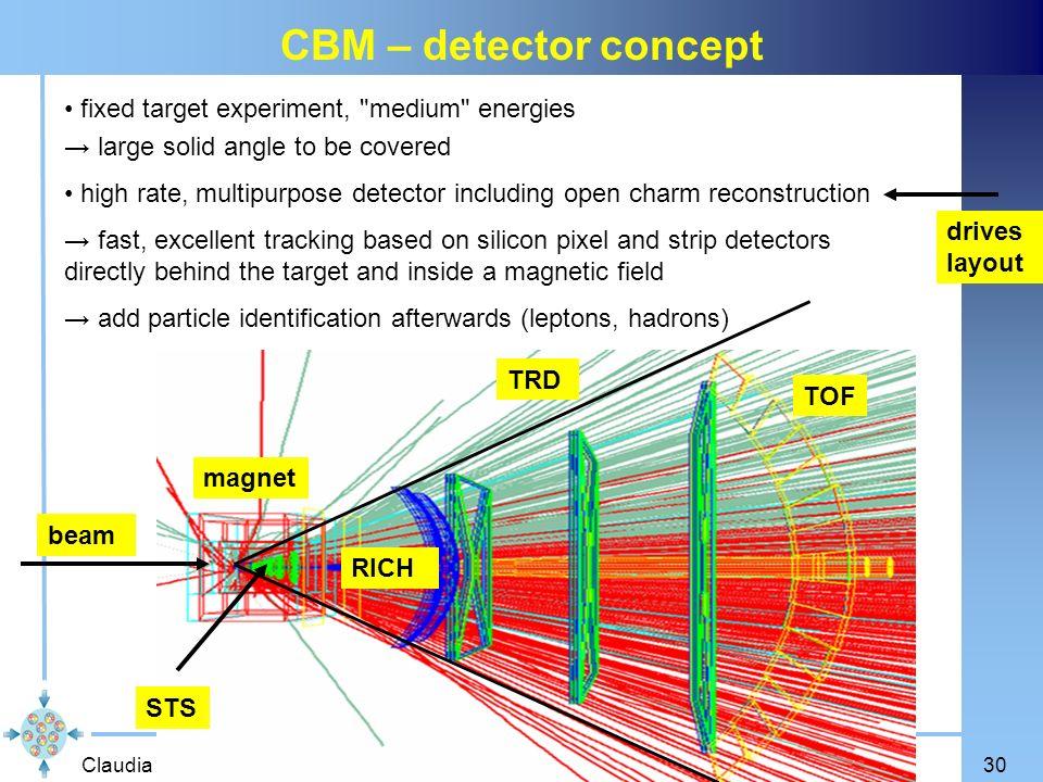 Claudia Höhne Seminar des Instituts für Kernphysik, Mainz, 29.10.200730 CBM – detector concept fixed target experiment,