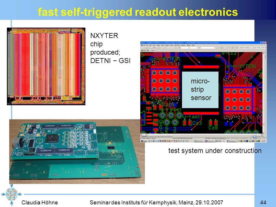 Claudia Höhne Seminar des Instituts für Kernphysik, Mainz, 29.10.200744 fast self-triggered readout electronics NXYTER chip produced; DETNI GSI test s