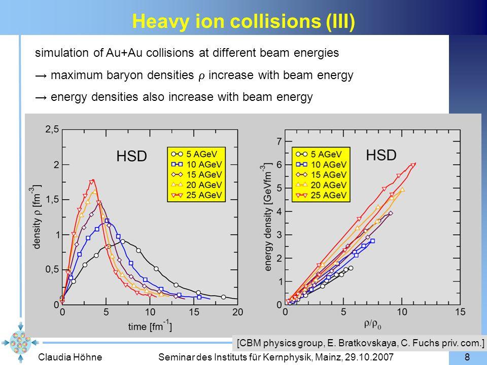 Claudia Höhne Seminar des Instituts für Kernphysik, Mainz, 29.10.200739 electrons: 2.4 10 10 events J/ m = 38 MeV/c 2 m = 45 MeV/c 2 J/ and invariant mass spectra electrons: p 1 GeV, 1 interaction target (25 m Au) muons: 225 cm Fe absorber, no pt-cut muons: 4 10 8 events J/ m = 22 MeV/c 2 m = 33 MeV/c 2 25 AGeV central AuAu
