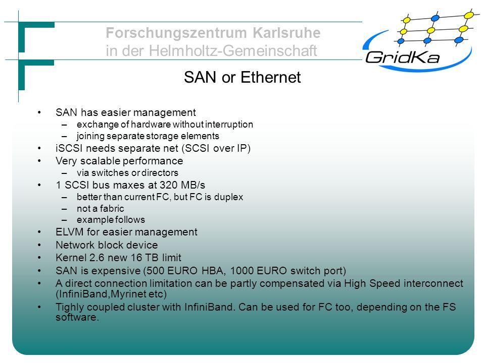 Forschungszentrum Karlsruhe in der Helmholtz-Gemeinschaft SAN or Ethernet SAN has easier management –exchange of hardware without interruption –joinin