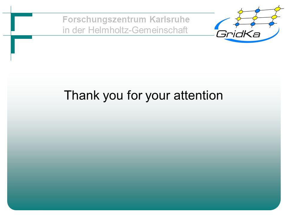 Forschungszentrum Karlsruhe in der Helmholtz-Gemeinschaft Thank you for your attention