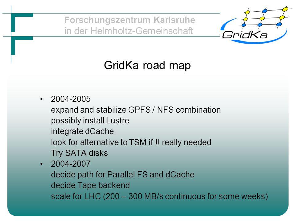 Forschungszentrum Karlsruhe in der Helmholtz-Gemeinschaft Tier 2 targets (source: G.Quast / Uni-KA) 5 MB per node throughput 300 nodes 1000 MB/s 200 TB overall disk storage
