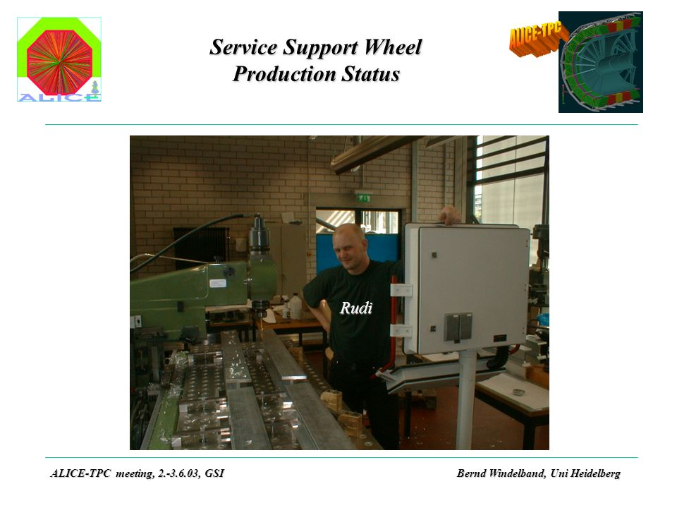 Service Support Wheel Production Status ALICE-TPC meeting, 2.-3.6.03, GSIBernd Windelband, Uni Heidelberg Rudi