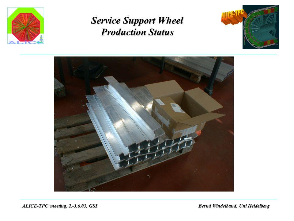 Service Support Wheel Production Status ALICE-TPC meeting, 2.-3.6.03, GSIBernd Windelband, Uni Heidelberg
